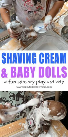 A fun and easy sensory play activity using baby dolls and shaving cream. Hours of pretend play for toddlers, preschoolers and kindergartners! Outdoor Activities For Toddlers, Sensory Activities, Infant Activities, Play Activity, Nursery Activities, Activity Ideas, Indoor Activities, Therapy Activities, Learning Activities