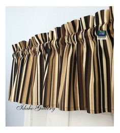 Brown Tan Cream Stripe Window Valance Little Curtain Modern Bedroom Kitchen Curtain Idaho Gallery