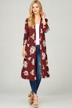 This versitile cardigan is fashionable and perfect for every season! I love wearing these with jeans, a solid dress . or just as a quick cover-up. The fabric is brushed and super soft! Polyester Spandex Proudly made in the USA Kimono Outfit, Kimono Fashion, Boho Dress, Fashion Outfits, Floral Cardigan, Dress With Cardigan, Long Cardigan, Maxi Cardigan, Mode Kimono