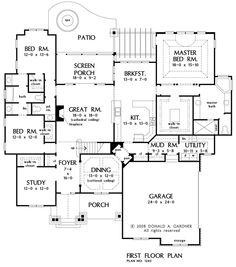 First Floor Plan of The Evanston - House Plan Number 1243 I like this one for the master bedroom/bath/closet configuration...