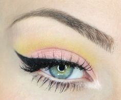 "Bright Pastel Pink and Yellow Eye Makeup Look ~ Black Cat Eye using ""Blacktrack"" Gel eyeliner by MAC"