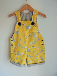 The Yellow Fox Short Dungaree/Romper/Overall by YellowBugDesign LOVE LOVE LOVE these!! I have a weird affinity for yellow for our little boy at the moment