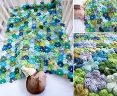 Crochet 6 Petal Flower Baby Blanket, SO PRETTY ! Free Pattern--> http://wonderfuldiy.com/wonderful-diy-crochet-flower-baby-blanket/
