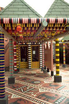 Classroom entry,  Kaolack, Senegal (West Africa)  Architect: Patrick Dujarric  Client: Mission Française de Coopération et d'Action Culturelle  Completed: 1994