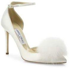 8a12b661c614 Jimmy Choo Rosa 100 Fox Fur Pom-Pom   Satin d Orsay Ankle-Strap Pumps    weddings  weddinginspiration  affiliate