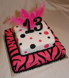 Hot Pink~Black... My Favorite Colors!!  Love the Animal Print and Polka~Dots, Great Combo!!!  AWESOME CAKE