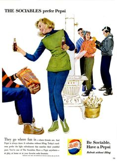The Sociables prefer #Pepsi - Chic vintage Pepsi ads from the 50s & 60s