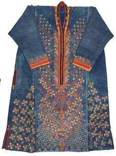 Qaraqalpaq ko'k ko'ylek or blue dress, probably ca. 1915-20. Qaraqalpaq State Museum of Art, Nukus