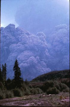 Remembering Mt St Helens: After seeing a cloud of ash/ debris heading their way at the Spud Mtn turnoff, Barry Johnston & Trixie Anders hurtled away from the blast in Johnston's Jeep. This photo was taken from where they stopped, about 15-20 mi away from Mt St Helens. Click thru for more amazing photos