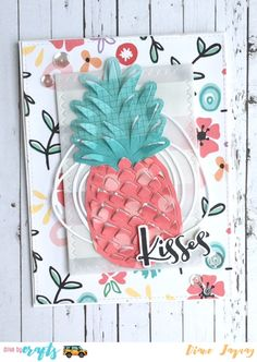 #DriveByCrafts Designed by: #DianeJaquay Using: #HeroArts Paper Layering Pineapple Die and #EllesStudio Little Moments Paper Pad