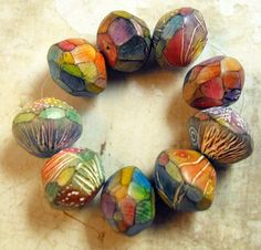 3 Colorful Artisan Beads Handmade from Polymer by MargitBoehmer, $10.00