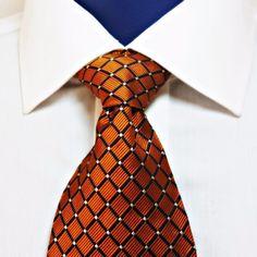 Bert Pulitzer Bronze Copper Neck Tie 100% Silk Satin Finish Men's Geometric #BertPulitzer #NeckTie