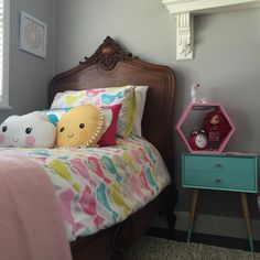 Sophie's Bedroom - Antique French bed from Because Antiques & Interiors (aust) kids decor from Kmart Aust and Target Aust