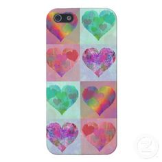 HEART RAINBOW DESIGN iphone case cute abstract iPhone 5 Case