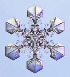 Egy hasonló hópehely, egy kis színnel megbolondítva (Fotó: Ken Libbrecht/Snowflakes.com)