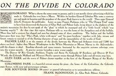 Palmer Lake, Colorado Zebulon Pike, Palmer Lake, Clever Advertising, Old Postcards, Colorado, History, Aspen Colorado, Historia, Skiing Colorado