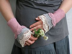 FREE SHIPPING Wild Flower - crocheted layered lacy wrist warmers cuffs romantic rustic style