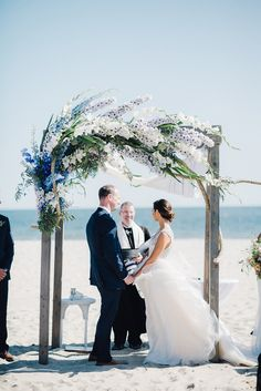 beach wedding ceremonies - photo by Cambria Grace Photography http://ruffledblog.com/italian-marbling-inspired-beach-wedding