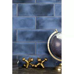Ivy Hill Tile Piston Camp Glaze x Porcelain Subway Tile Color: Blue Porcelain Wood Tile, Ceramic Subway Tile, Glass Subway Tile, Stone Mosaic, Mosaic Glass, Blue Tile Backsplash Kitchen, Subway Tile Colors, Tile Crafts, Blue Tiles