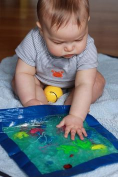 """10 Sensory Play Ideas To Pass the Hours (& Save YourSanity) Number 4 the hair gel bag is my favorite since I'm not a big fan of """"messy!"""""""