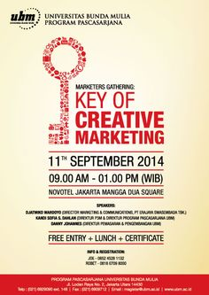 """Revisi buat kalian semua yang mau ikutan Marketers Gathering """"Key Of Creative Marketing"""" So jangan sampai gak ikutan yaa.."""