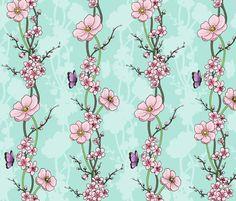 Japanese Garden fabric by hazel_fisher_creations on Spoonflower - custom fabric