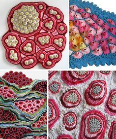 crochet, sculpture, amazing. Looks like those brilliantly brightly coloured deep-sea creatures, anemones & sea slugs etc...