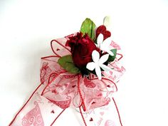 SALE  Gift wrap bow Valentine gift bow Bow with a red by jandavis2