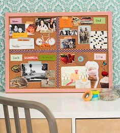 Thanksgiving craft: Divide a bulletin board into equal sections for each family member to tack up notes, images, and drawings of what they cherish this holiday season.