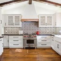 Erin Hendrick -  - spanish colonial kitchen, spanish colonial style kitchen, hardwood floors, spanish backsplash tile, red white and blue sp...