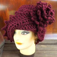Strawberry Couture Hat - Crochet for Women Cloche in Aubergine   - Stylish Unique Unusual Accessories