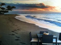 My friend Backyard wall mural!!! dinner at sunset on the beach every night!! How Does It Get Any Better Than That?! :)
