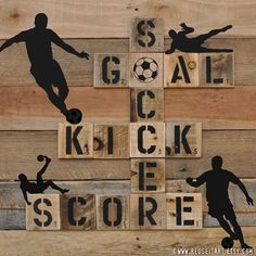 Print or Canvas Soccer Sports Graphic Pallet Art by ReUseItArt - use Scrabble tiles?