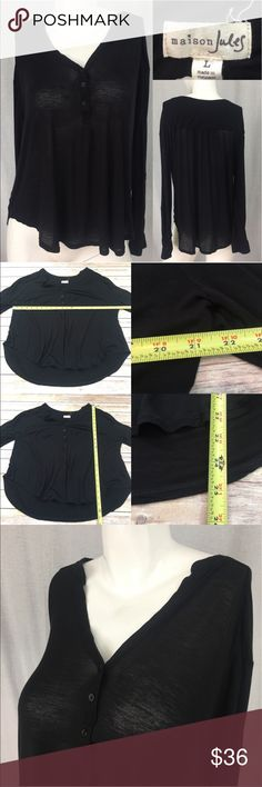 🎀Size Large Maison Jules Hi/ Low Lightweight Top Measurements are in photos. Normal wash wear, no flaws. C3/32  **TOP IS SEMI SHEER, material tag is missing. It's a lightweight Rayon material.  I do not comment to my buyers after purchases, due to their privacy. If you would like any reassurance after your purchase that I did receive your order, please feel free to comment on the listing and I will promptly respond.   I ship everyday and I always package safely. Thank you for shopping my…