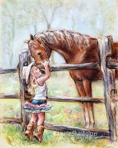 girl and horse Cowgirl horse painting little by LaurieShanholtzer