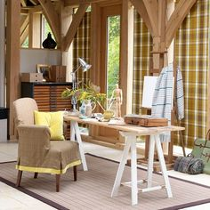 Highland home office with country-inspired accents