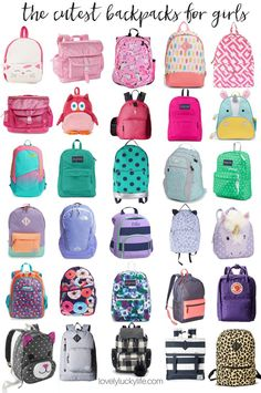 back to school! cute backpacks for girls - not a character backpack in the  bunch!    lovelyluckylife.com b8df21d034164