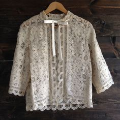 Vintage 60's designer bed jacket / Bert Yelin for Iris /  Battenburg lace / ribbon tie at neck / doll collar // #78 - Daybreak //