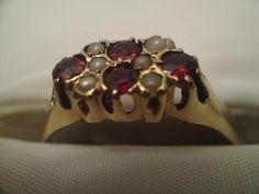 Rare 14ct 14k yellow gold seed pearl orange gemstone ring weight 3.2 grams