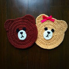 Bear crochet coaster set 2 coasters by Snowylele on Etsy