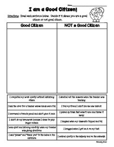 I created this activity for my students to use in the Fall / Beginning of the Year to use in teaching the Social Studies Citizenship unit.  The students will read each sentence and decide if the scenario shows an example of being a good citizen or not.