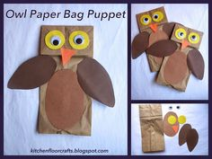 Kitchen Floor Crafts: Owl Paper Bag Puppets