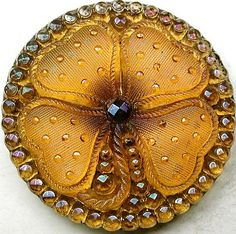 Antique Lacy Glass Button Honey Four Leaf Clover with Iridescent Luster.