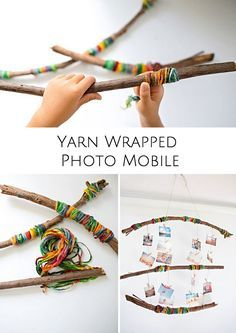 WRAPPED PHOTO MOBILE Let kids wrap yarn around sticks or branches to create a beautiful mobile to hang up photos or their artwork.Let kids wrap yarn around sticks or branches to create a beautiful mobile to hang up photos or their artwork. Projects For Kids, Diy For Kids, Craft Projects, Craft Kids, Camping Activities For Kids, Summer Activities, Yarn Crafts, Diy And Crafts, Arts And Crafts