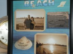 Shadow box of a beach trip..took 2 of my favorite pictures and placed on cardstock...my boyfriend found the shell in the ocean, and I used a fine tipped sharpie to ...