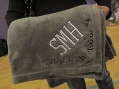 Monogrammed blankets for the SMH senior volleyball players.