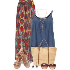 A fashion look from April 2014 featuring denim top, chiffon skirt and strap sandals. Browse and shop related looks.