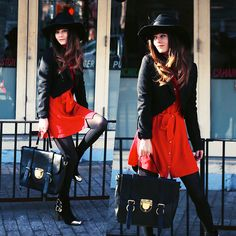 Feather Hat, All Saints Tailcoat, Red Chiffon Dress, Leather Bag, Choies Gold Capped Suede Heels, Http://Www.Jaglever.Com
