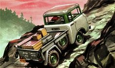 Collection of Willys forward control Jeep print advertisements. Featuring FC-150 and FC-170 pick-up trucks.