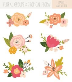 Flower Bunches Clip Art Vector Flower Clip Art Tropical Flower - Clipart Suggest Art Floral, Motif Floral, Vector Flowers, Flower Clipart, Illustration Blume, Hand Drawn Flowers, Drawing Hands, Plant Drawing, Bunch Of Flowers